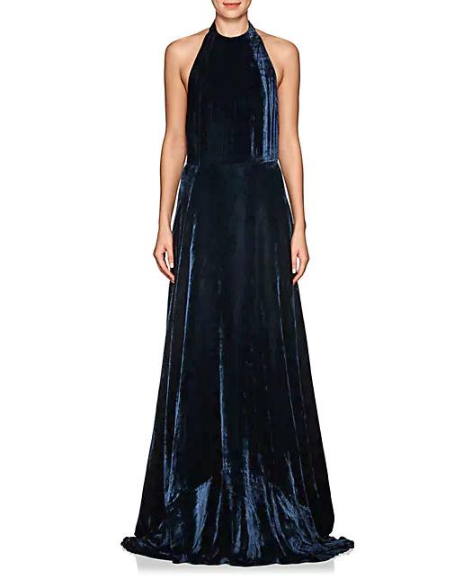 Azeeza Velvet Halter Gown