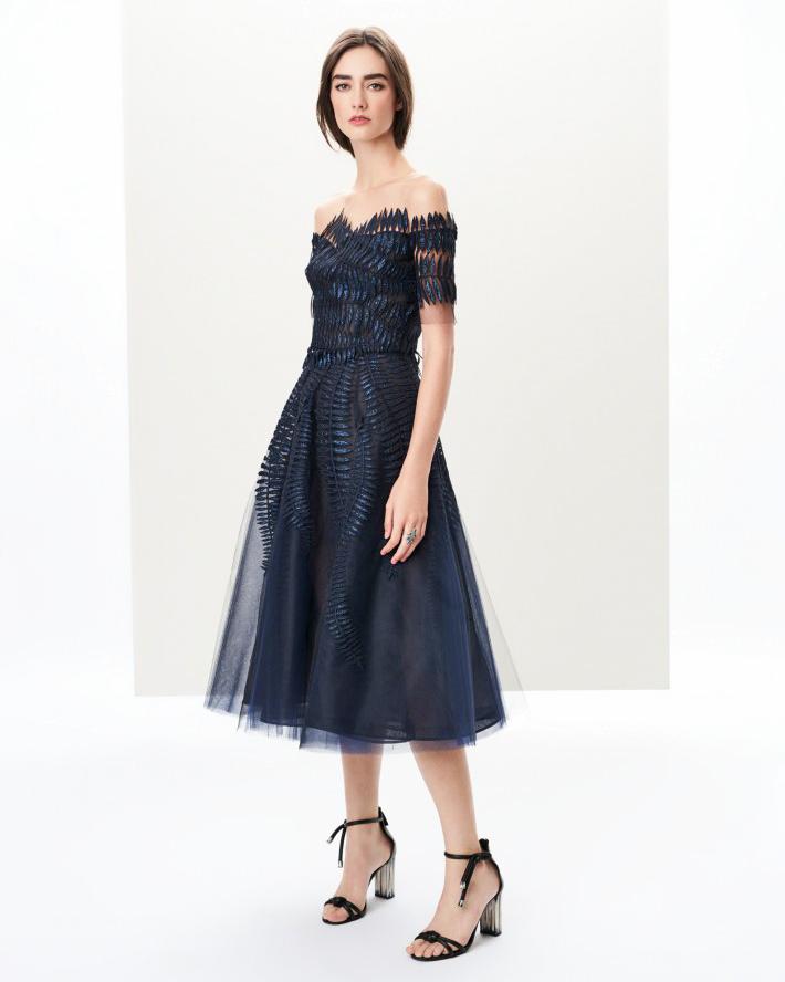 Oscar de la Renta Off-the-Shoulder Applique Dress