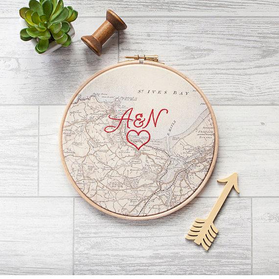 cotton anniversary gift custom map