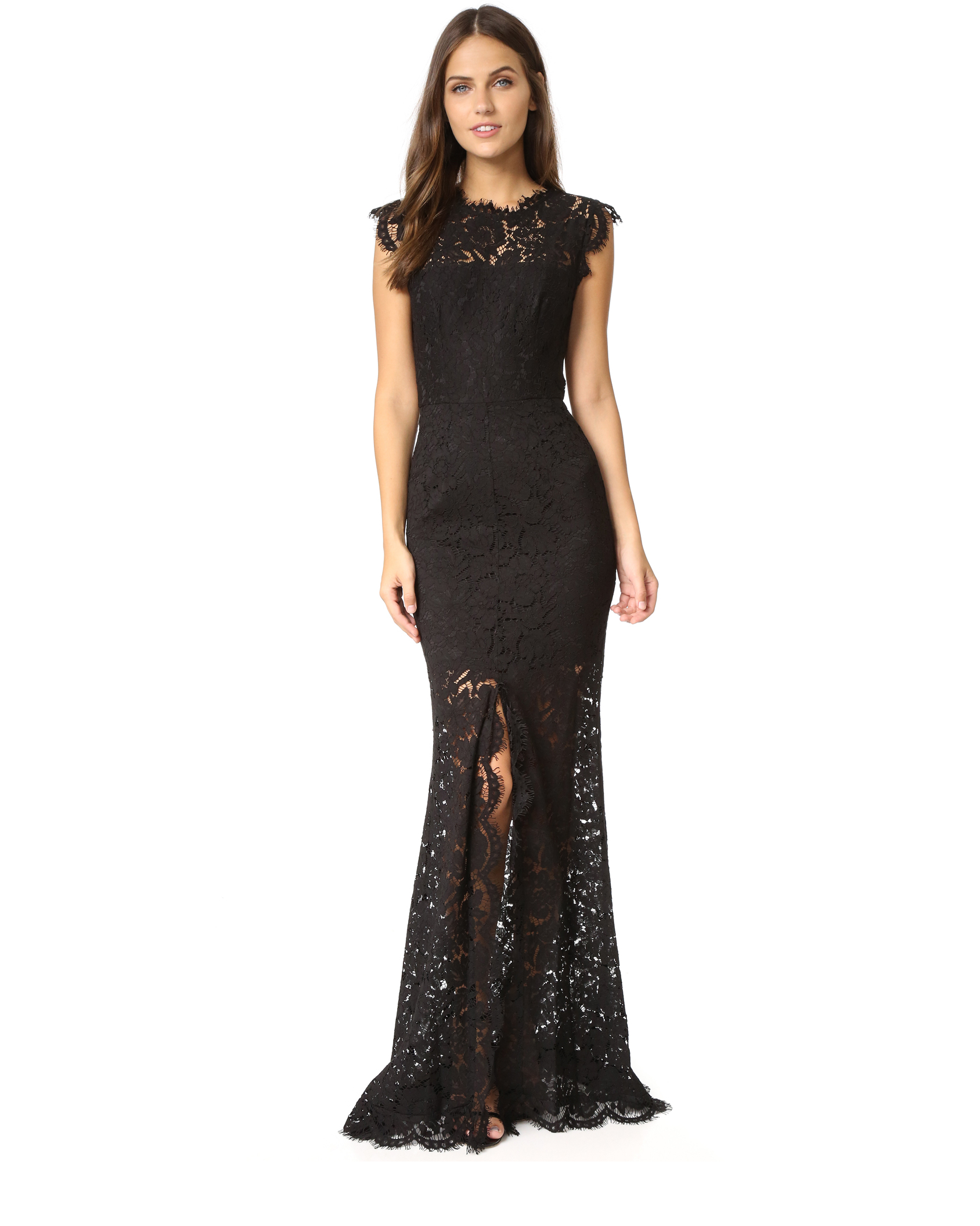 black lace cap sleeve gown