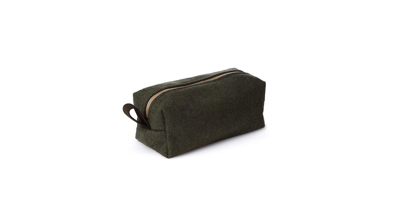wool anniversary gift black toiletry bag