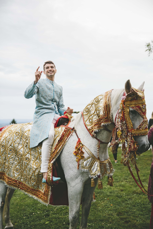 sanjay steven wedding baraat on horse