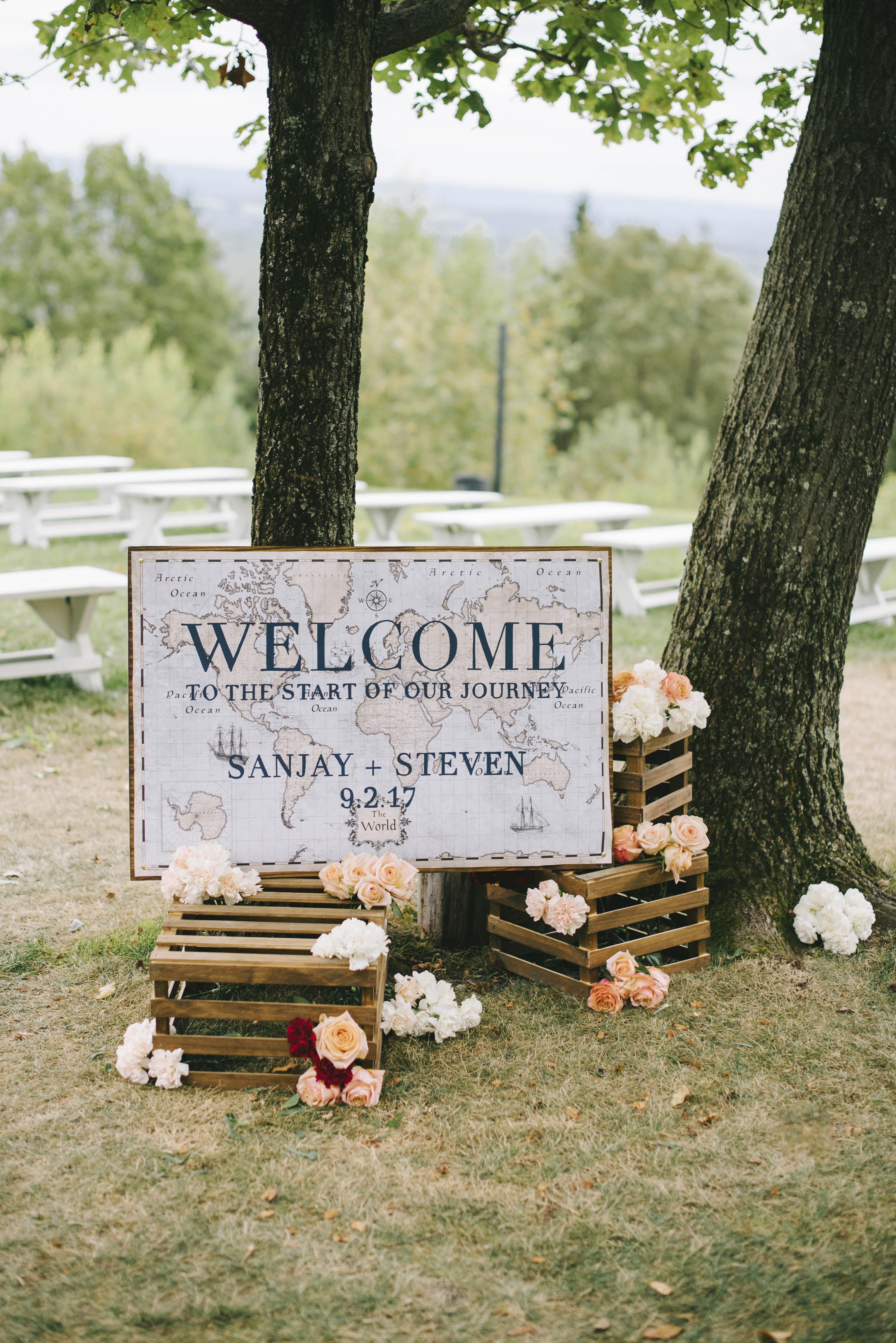 sanjay steven wedding welcome signage