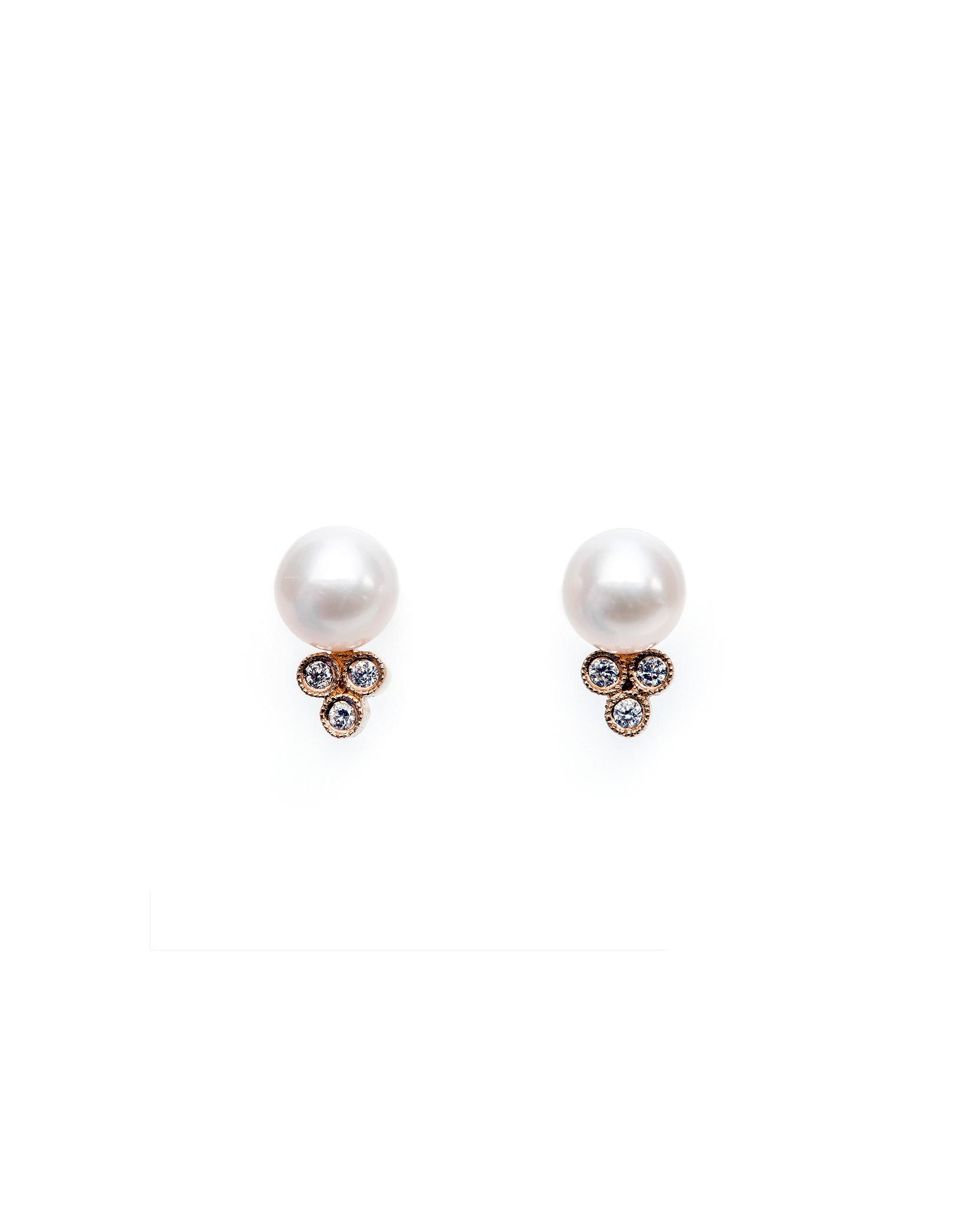 pearl wedding earrings trumpet and horn
