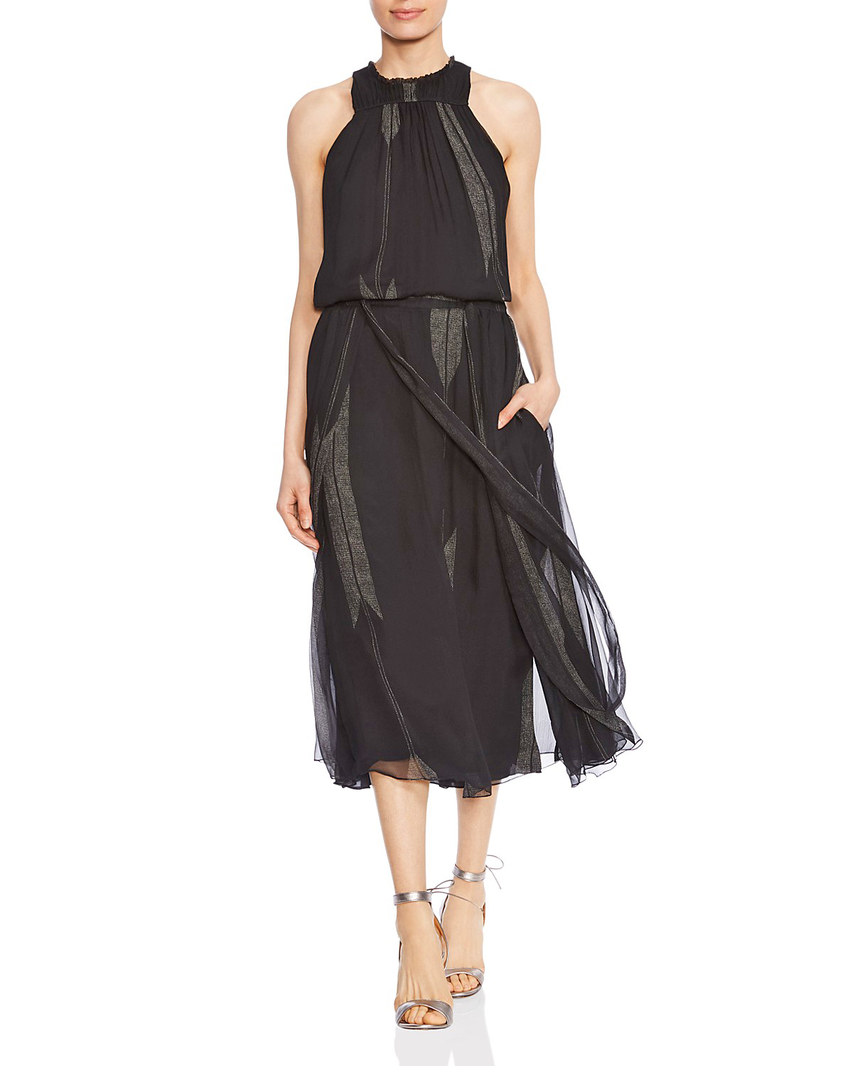 Halston Heritage Ruched Arrow-Print Dress