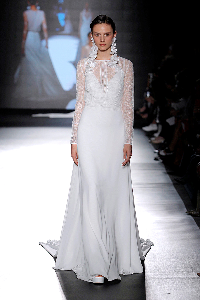 rosa clara dress spring 2019 long sleeves with lace illusion neck