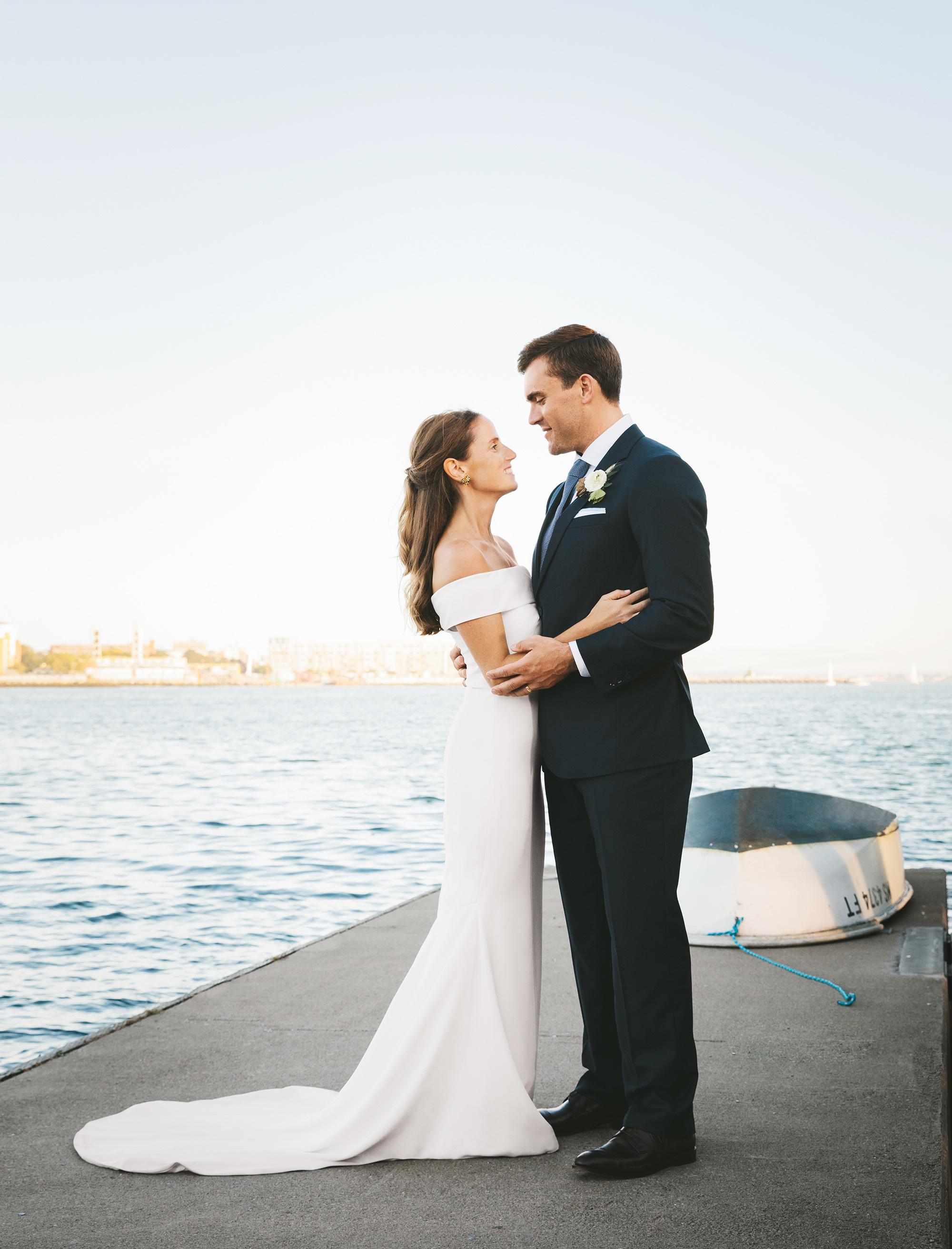laura john wedding massachusetts couple on pier
