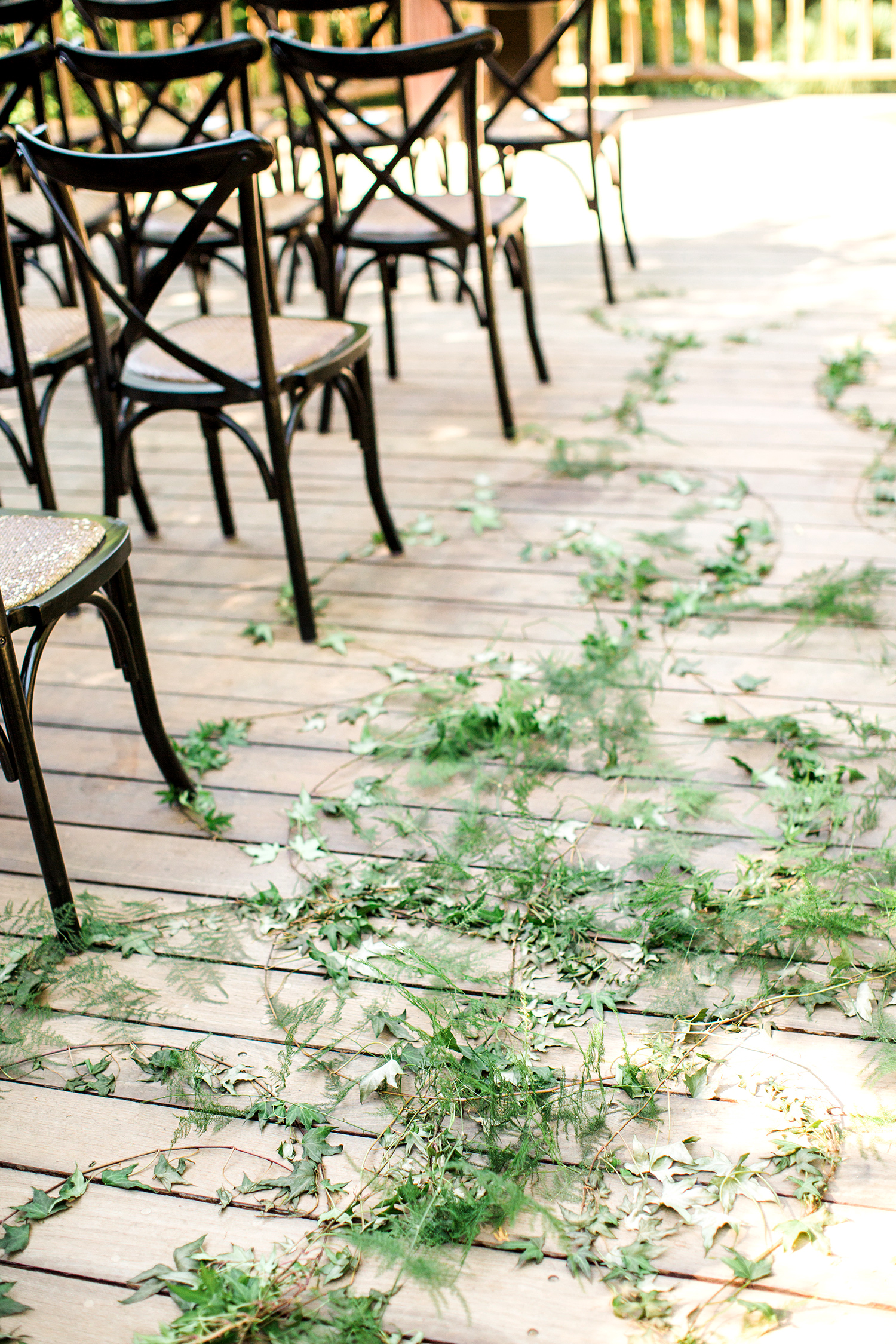 megan scott wedding aisle with greenery