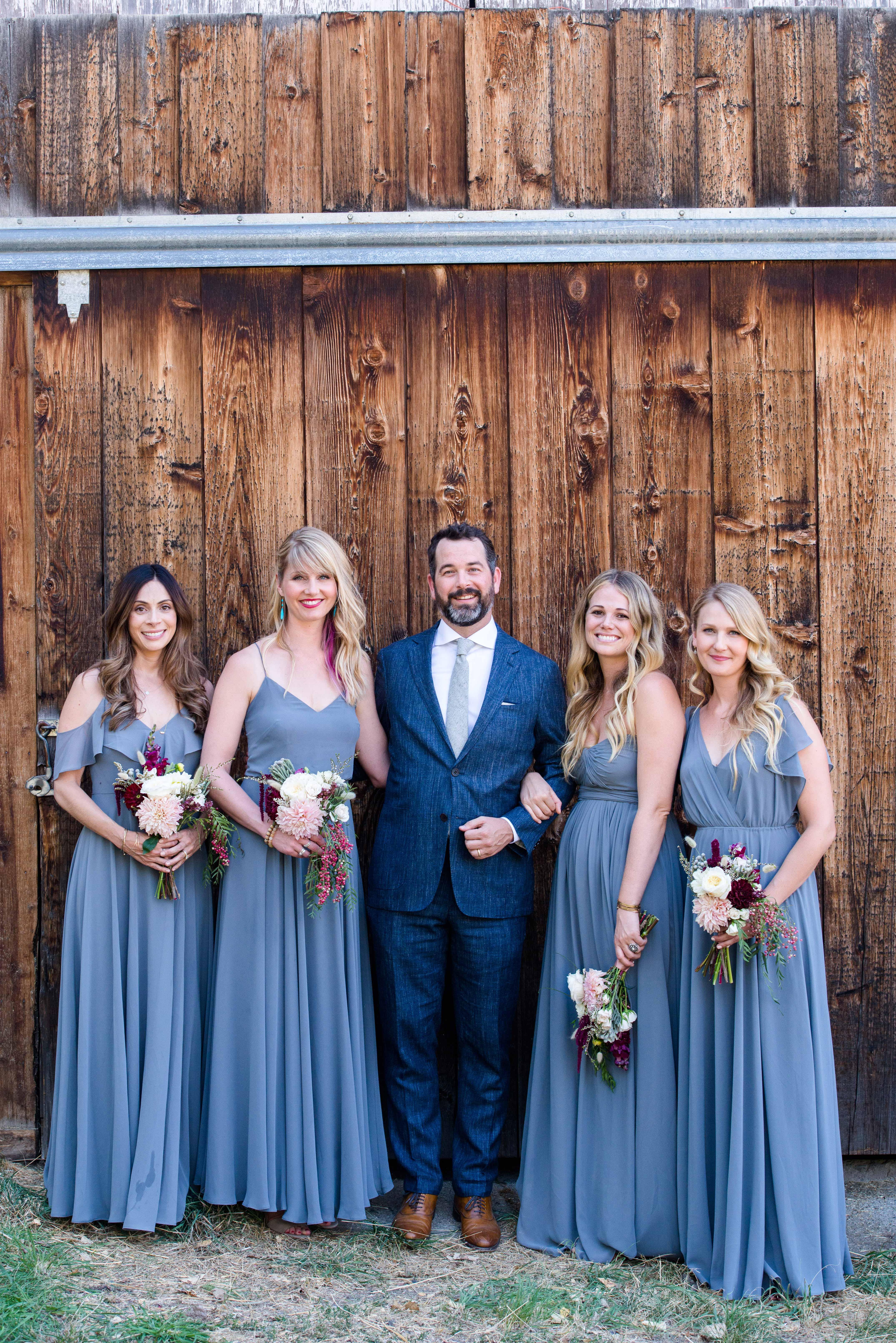 groom bridesmaids blue
