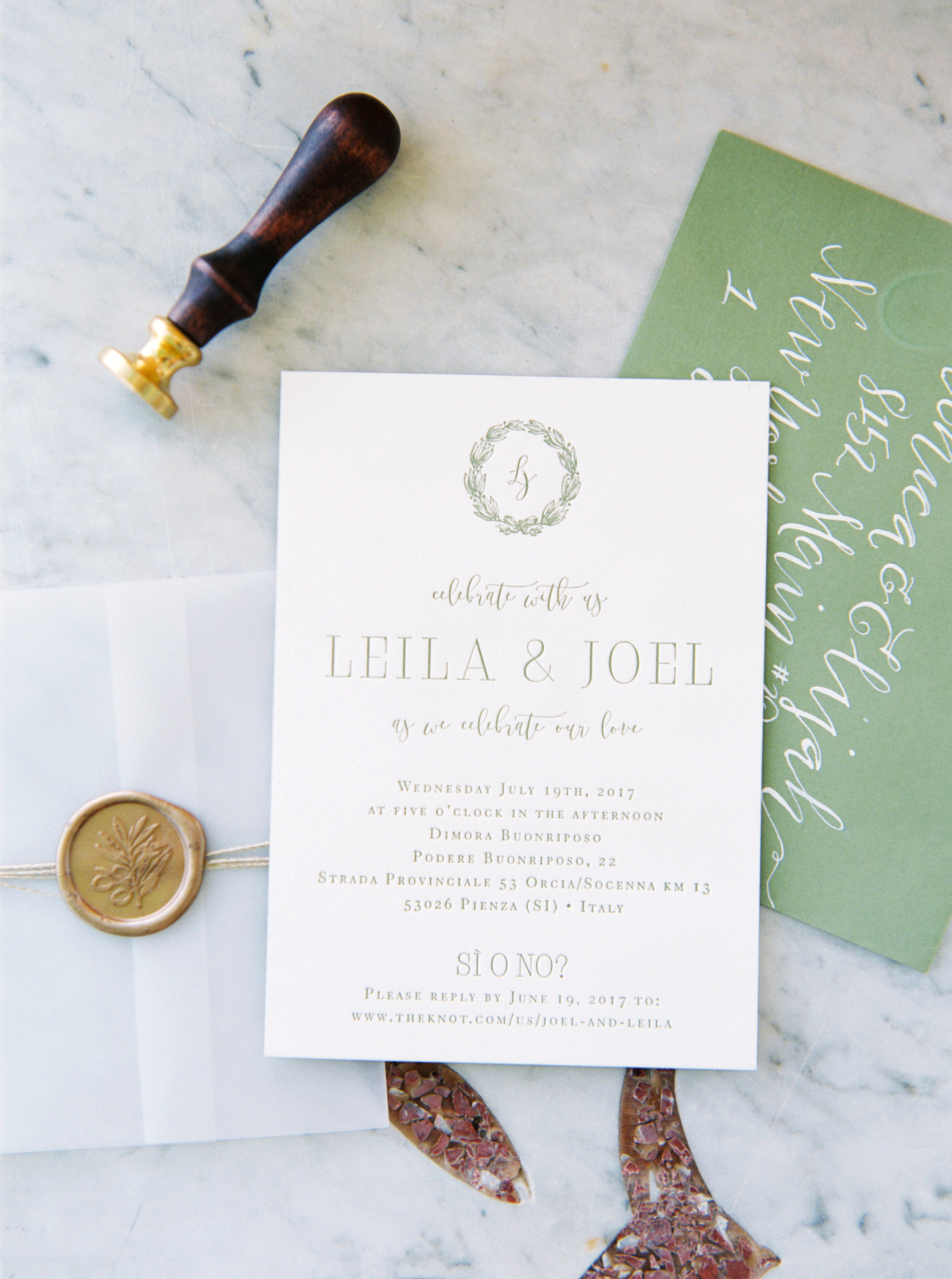 leila joel wedding invitation with seal