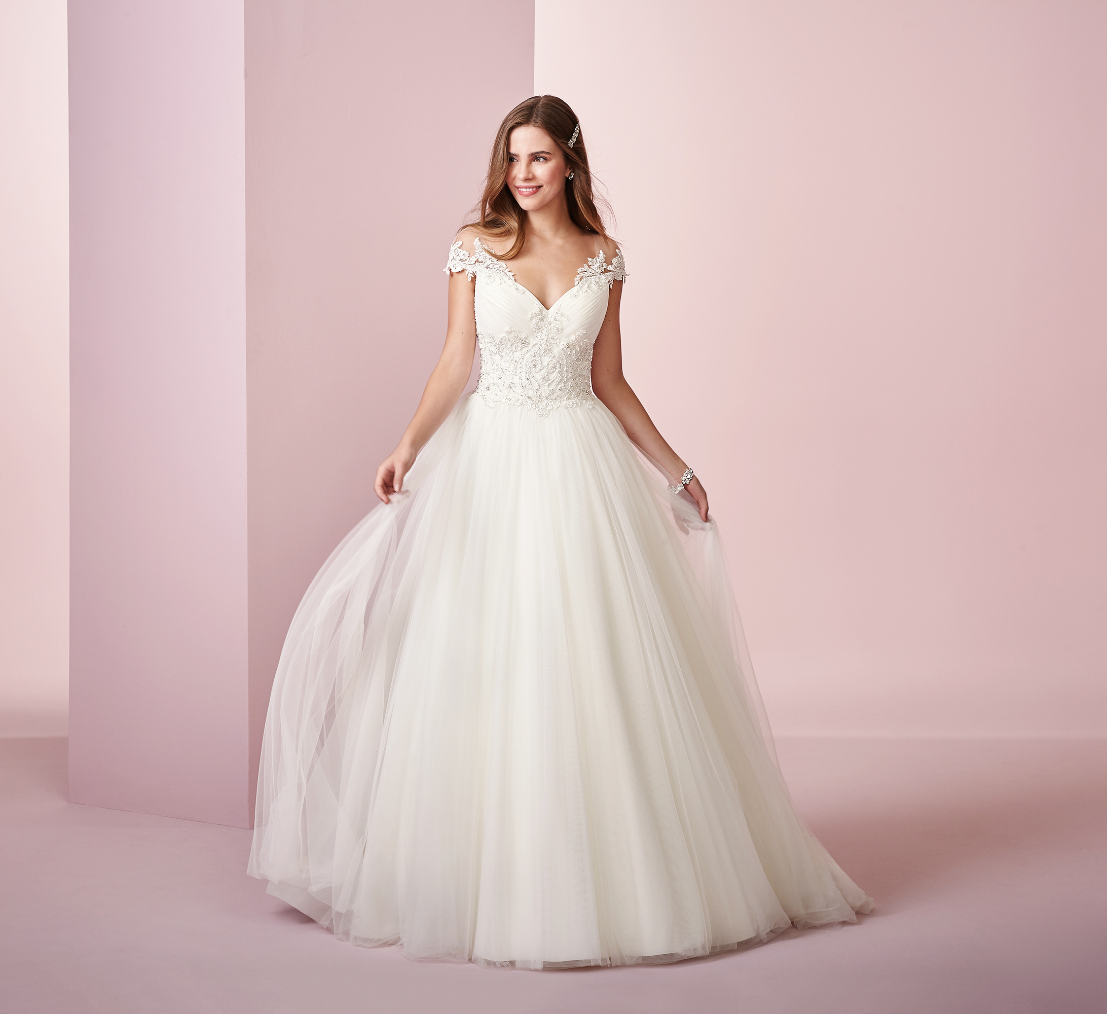 Rebecca Ingram wedding dress spring 2019 ball gown off the shoulder tulle