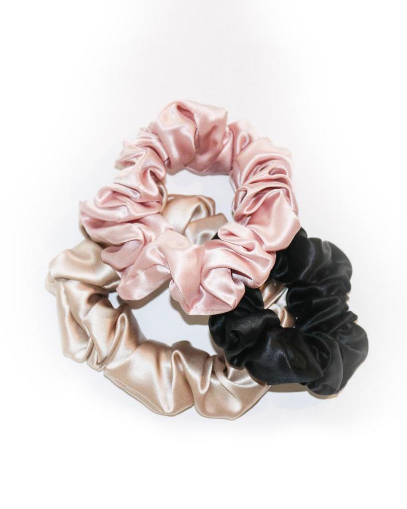three silk scrunchies