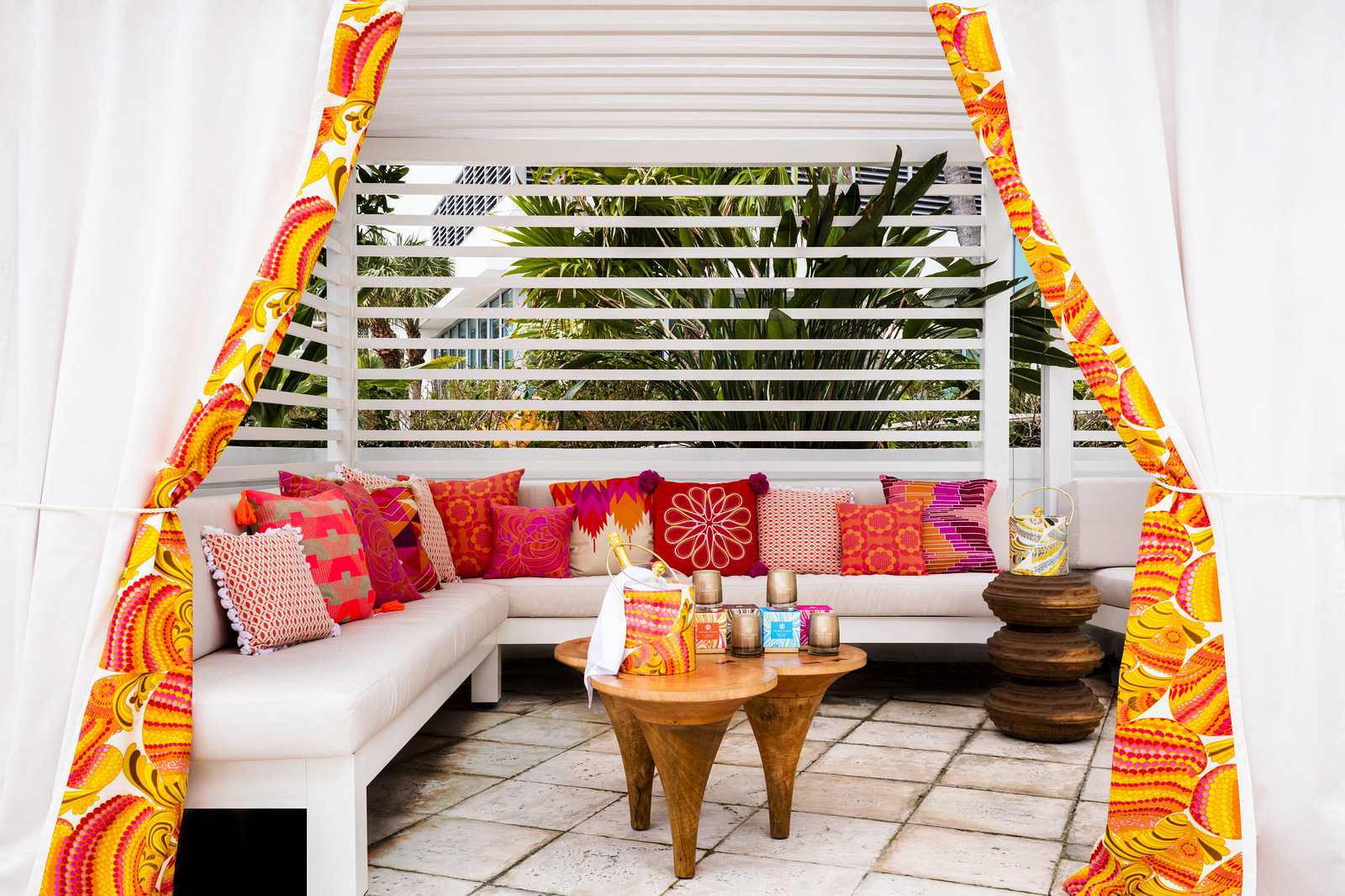 new venue outdoor cabana bright pillows
