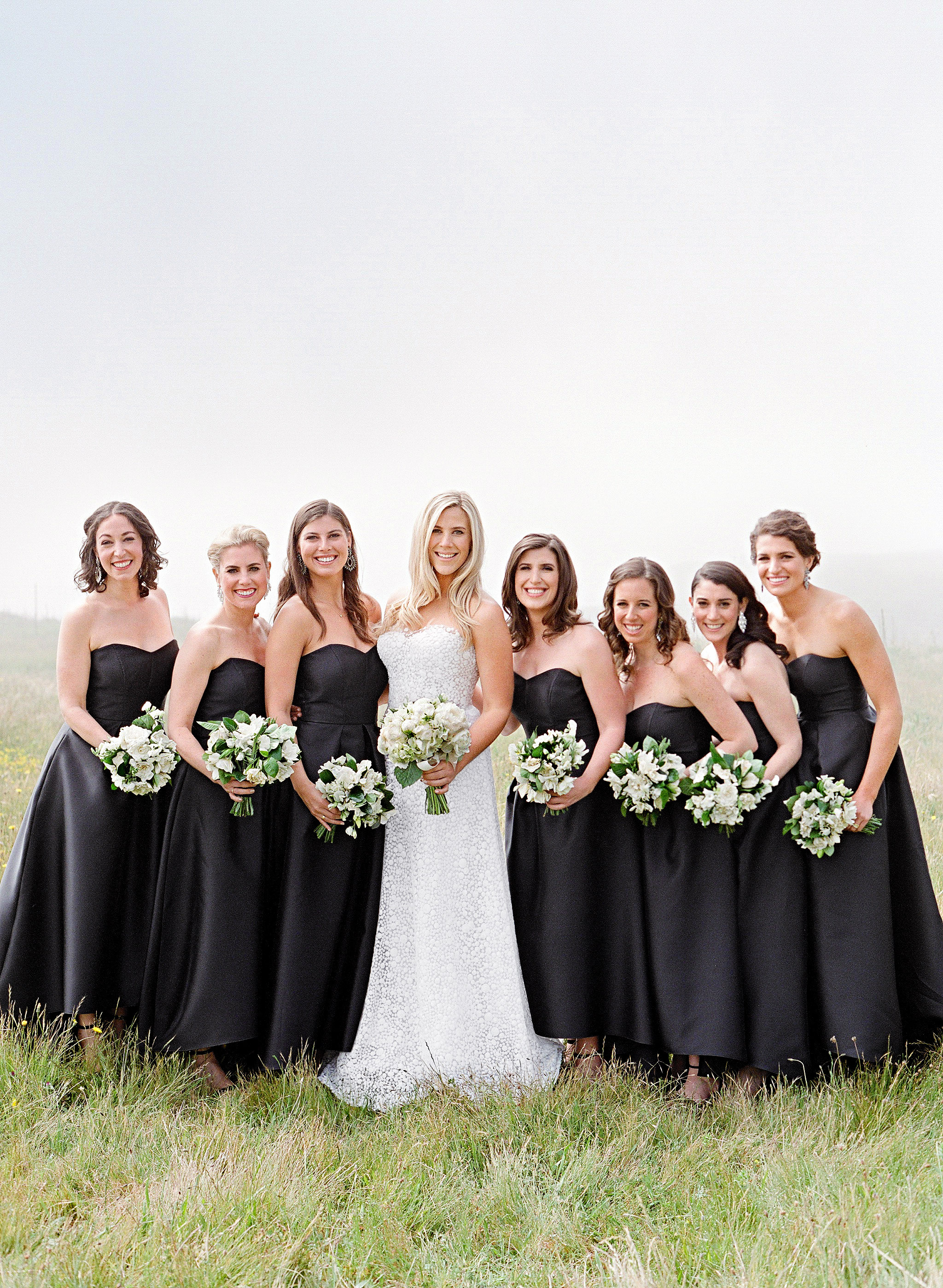 whitney zach wedding bridesmaids black strapless dresses