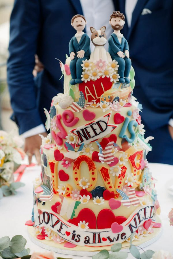 All You Need Is Love Wedding Cake with Same-Sex Topper