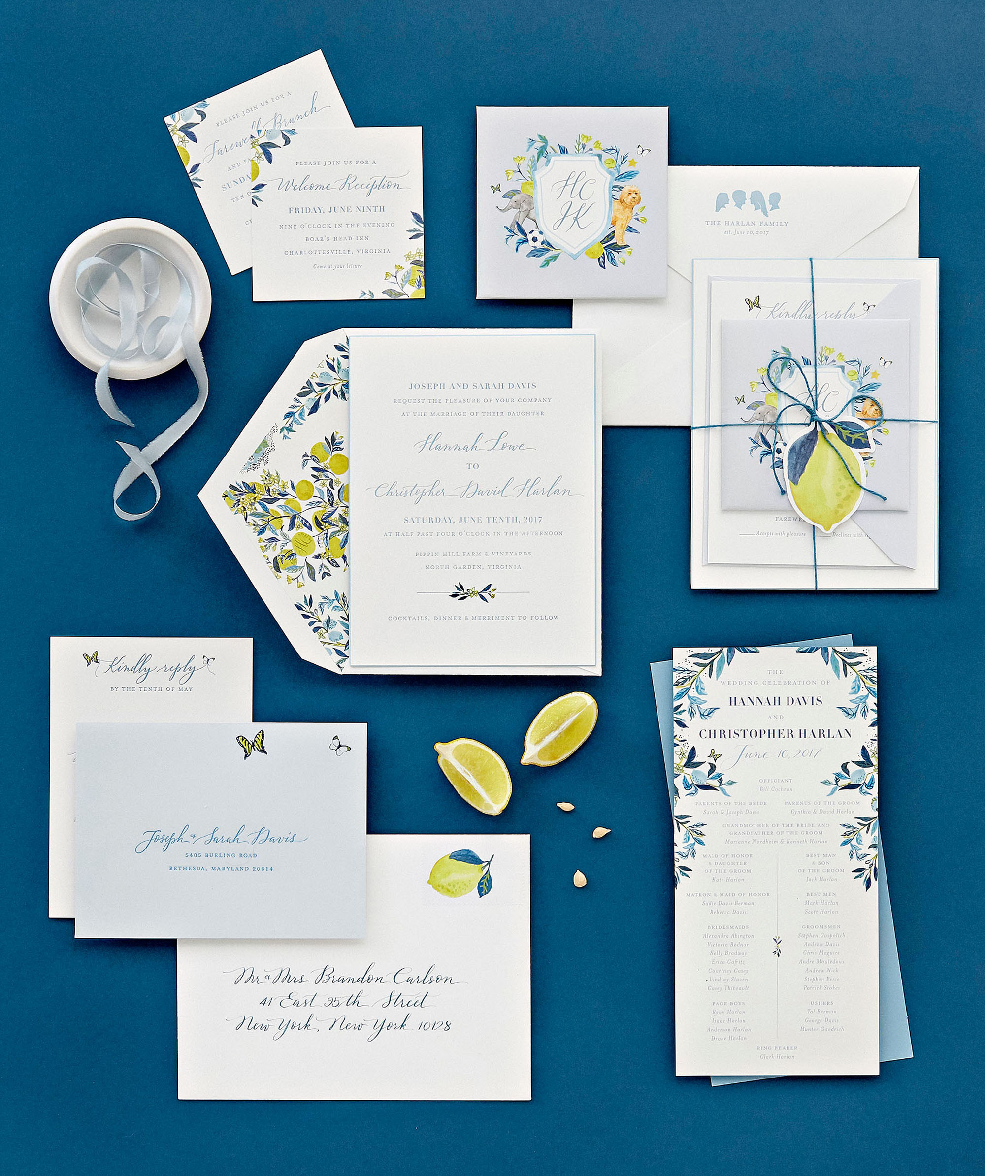 hannah chris wedding north garden va stationery suite