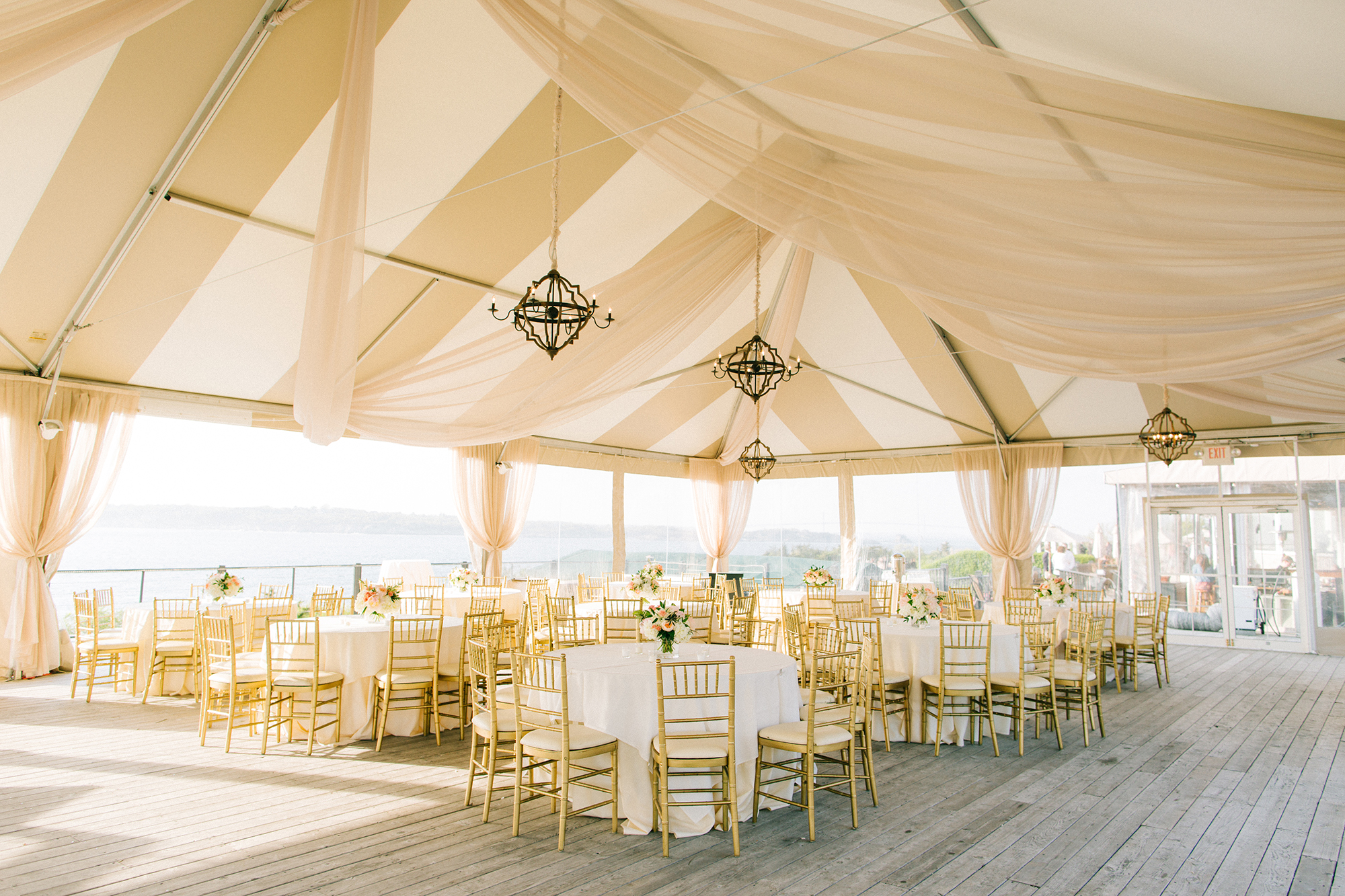 Beach Wedding Shower Covered Space