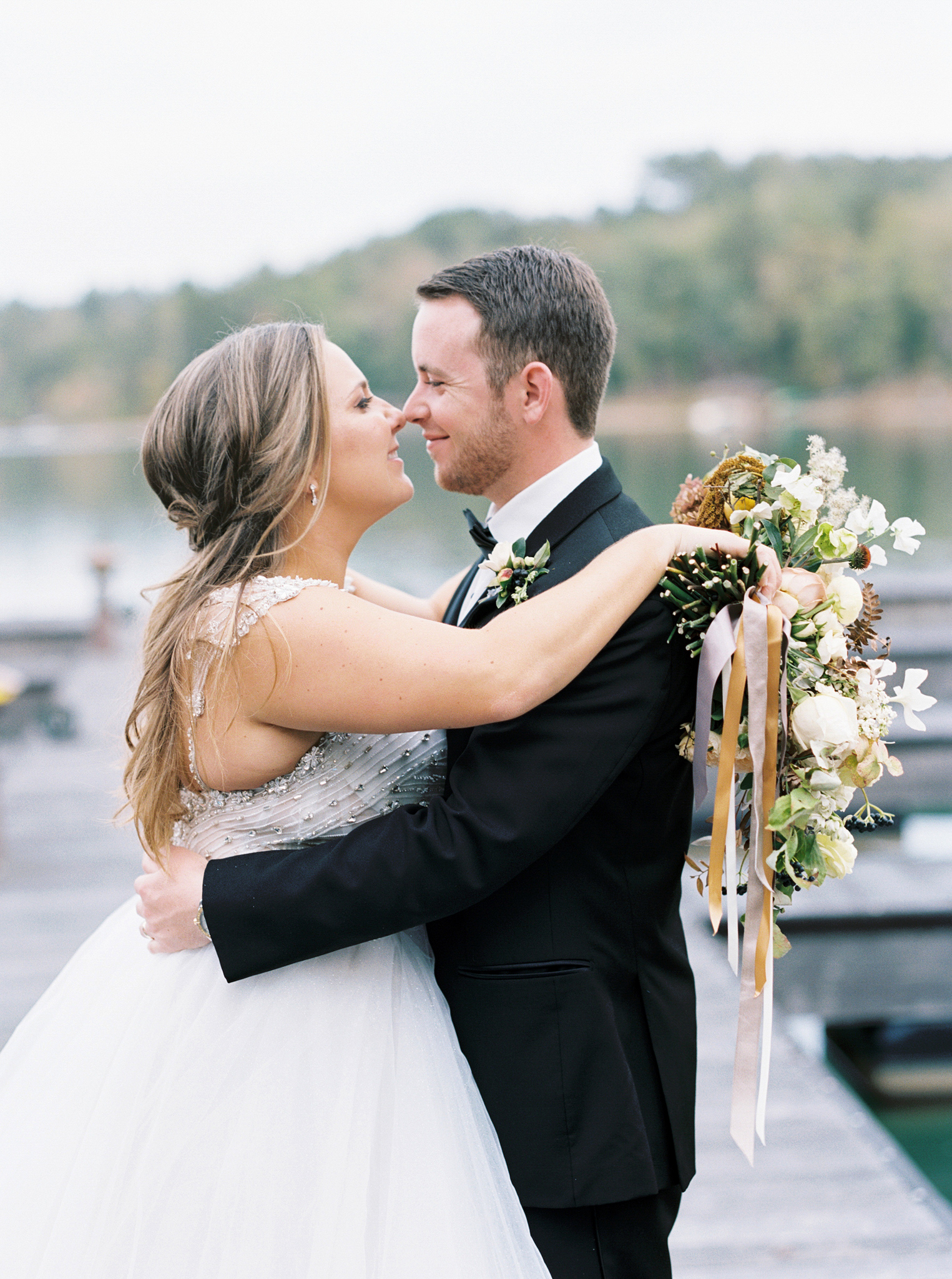 brittany alex wedding couple on dock