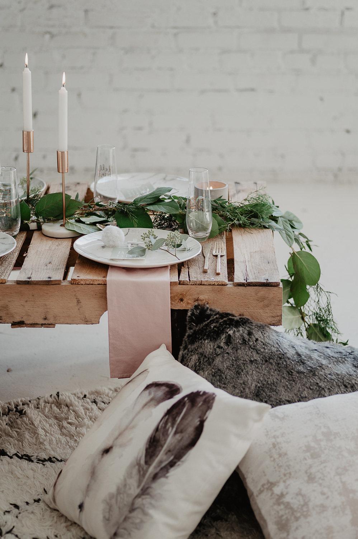 winter bridal shower shoot julia garcia prat table setting close up