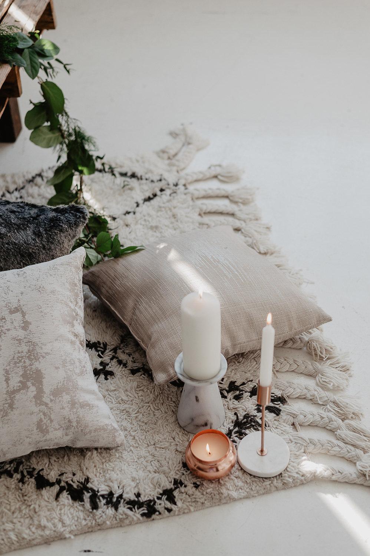 winter bridal shower shoot julia garcia prat textures pillows candles
