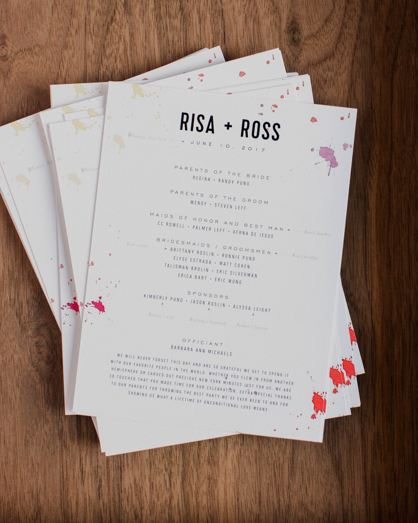 risa ross wedding brooklyn new york program