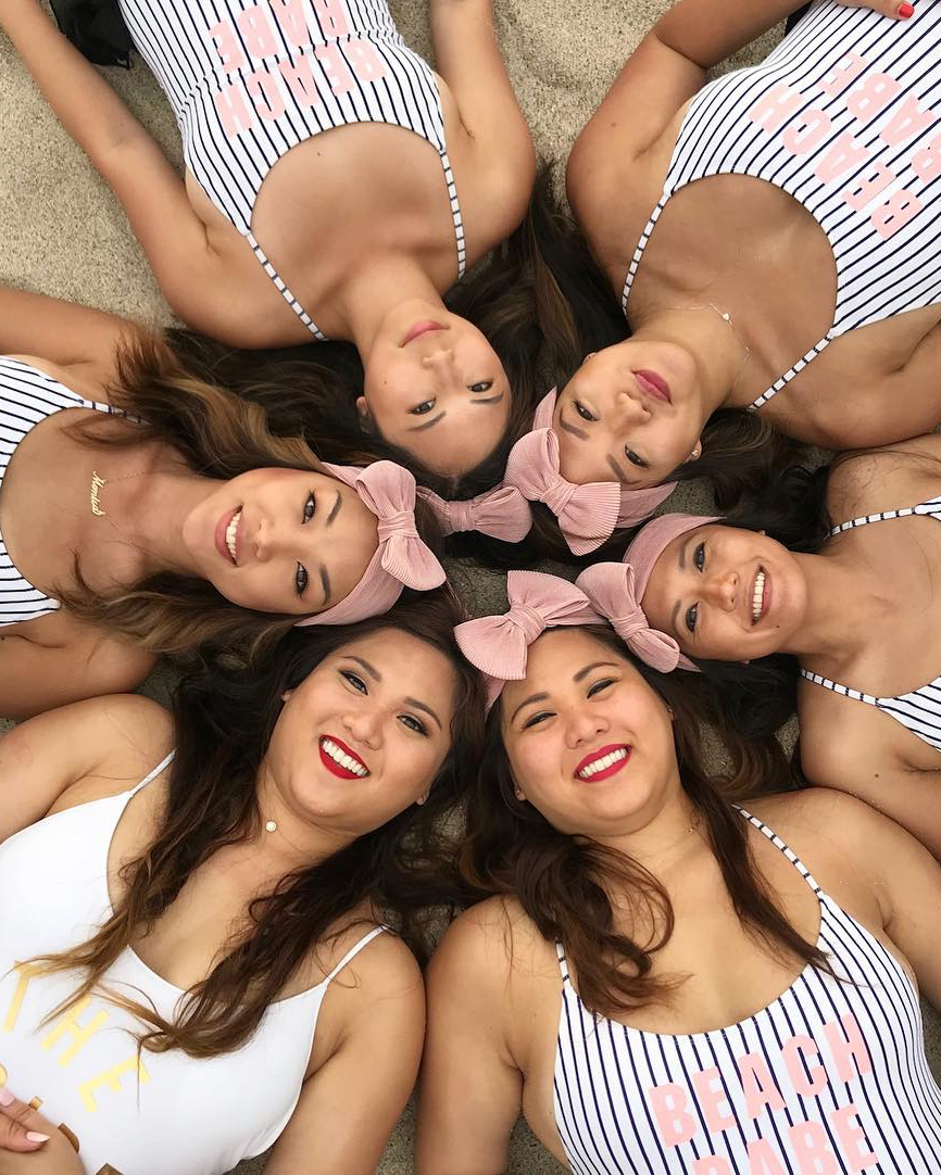 real brides bachelorette group posing vallarta