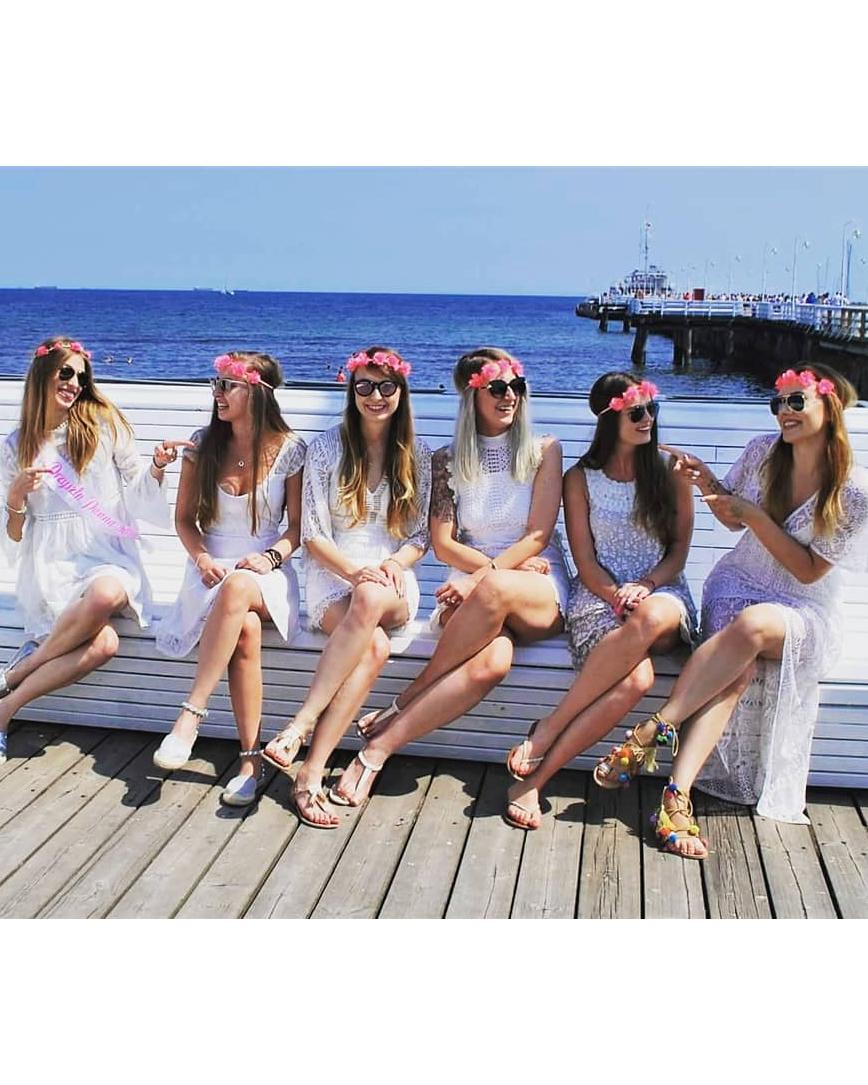 real brides bachelorette white dress flower crowns