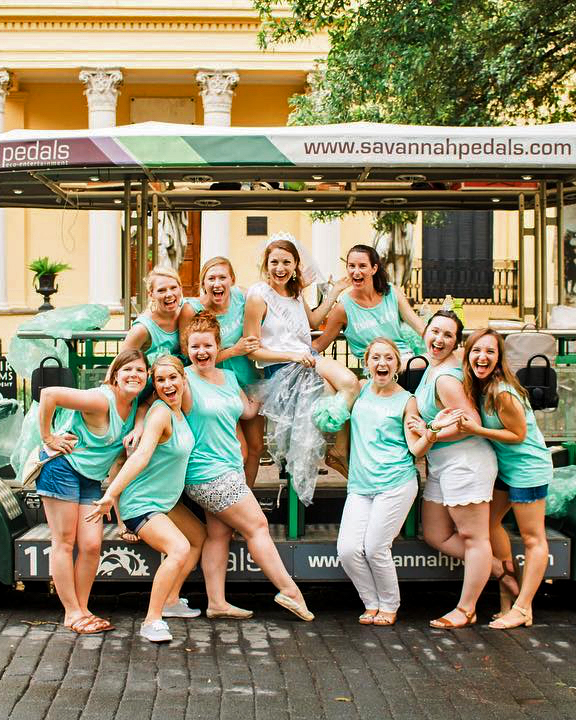 real brides bachelorette group savannah pedals