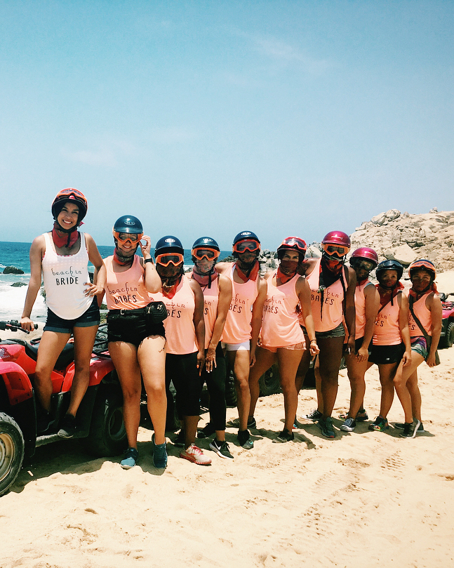 real brides bachelorette group cruising beach cabo