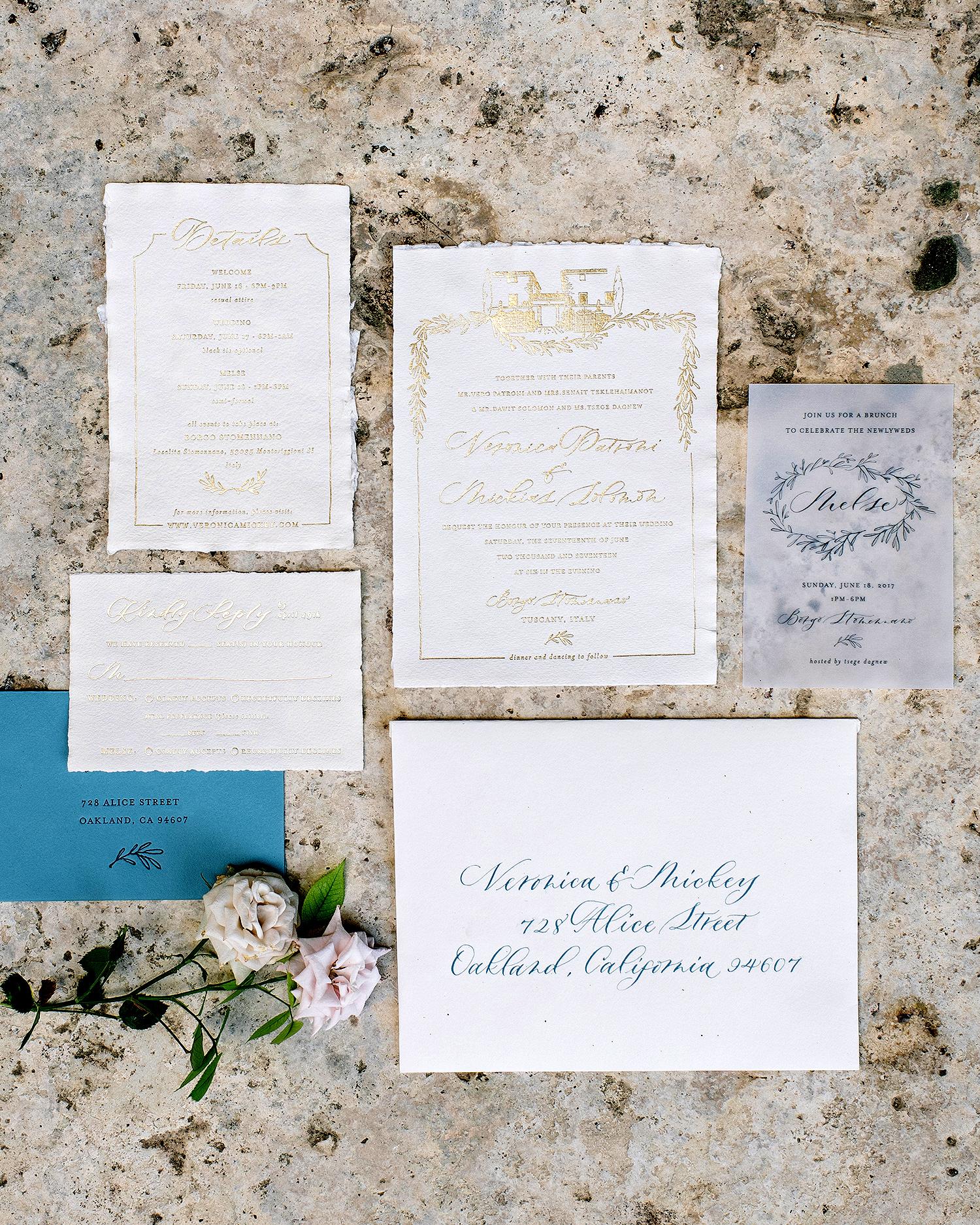 veronica mickias wedding invitation and roses