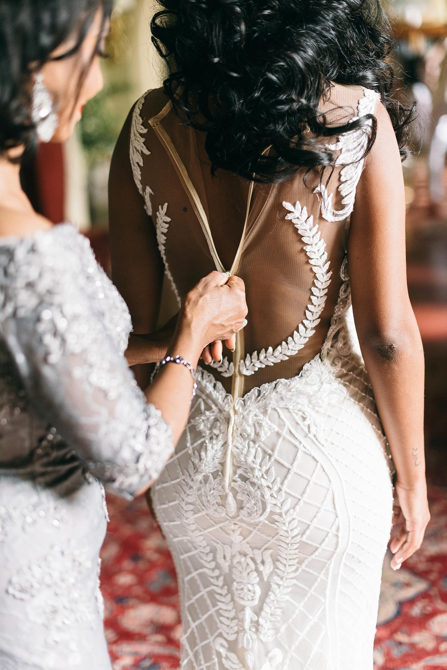 veronica mickias wedding brides dress detail
