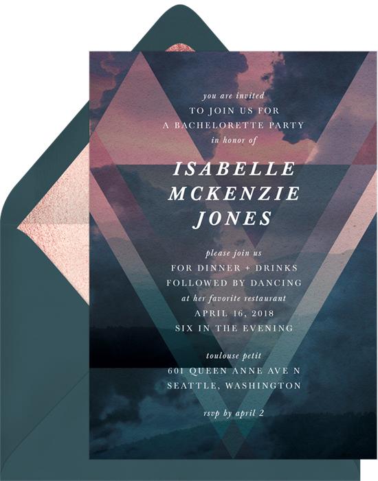 bachelorette party invites greenvelope moody blue