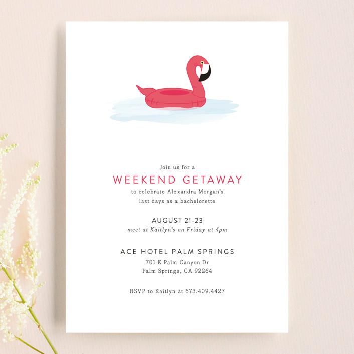 bachelorette party invites minted flamingo