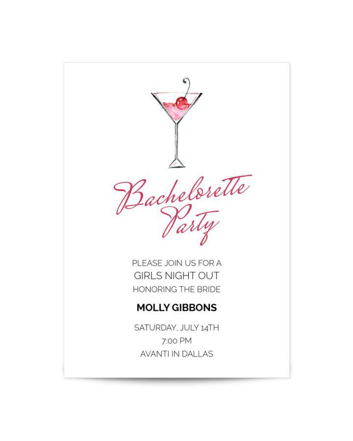 bachelorette party invites papyrus martini
