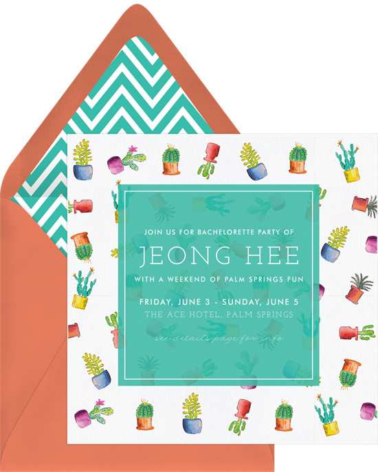 bachelorette party invites greenvelope cacti