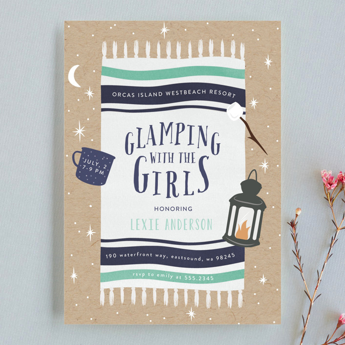 bachelorette party invites minted glamping