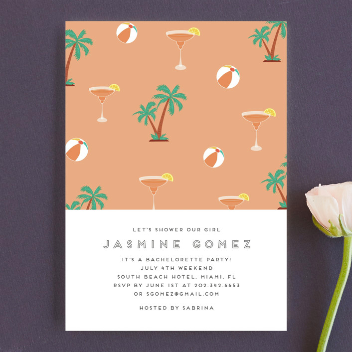 bachelorette party invites minted tropical bliss