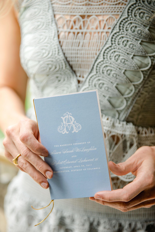 washington dc wedding woman holding program