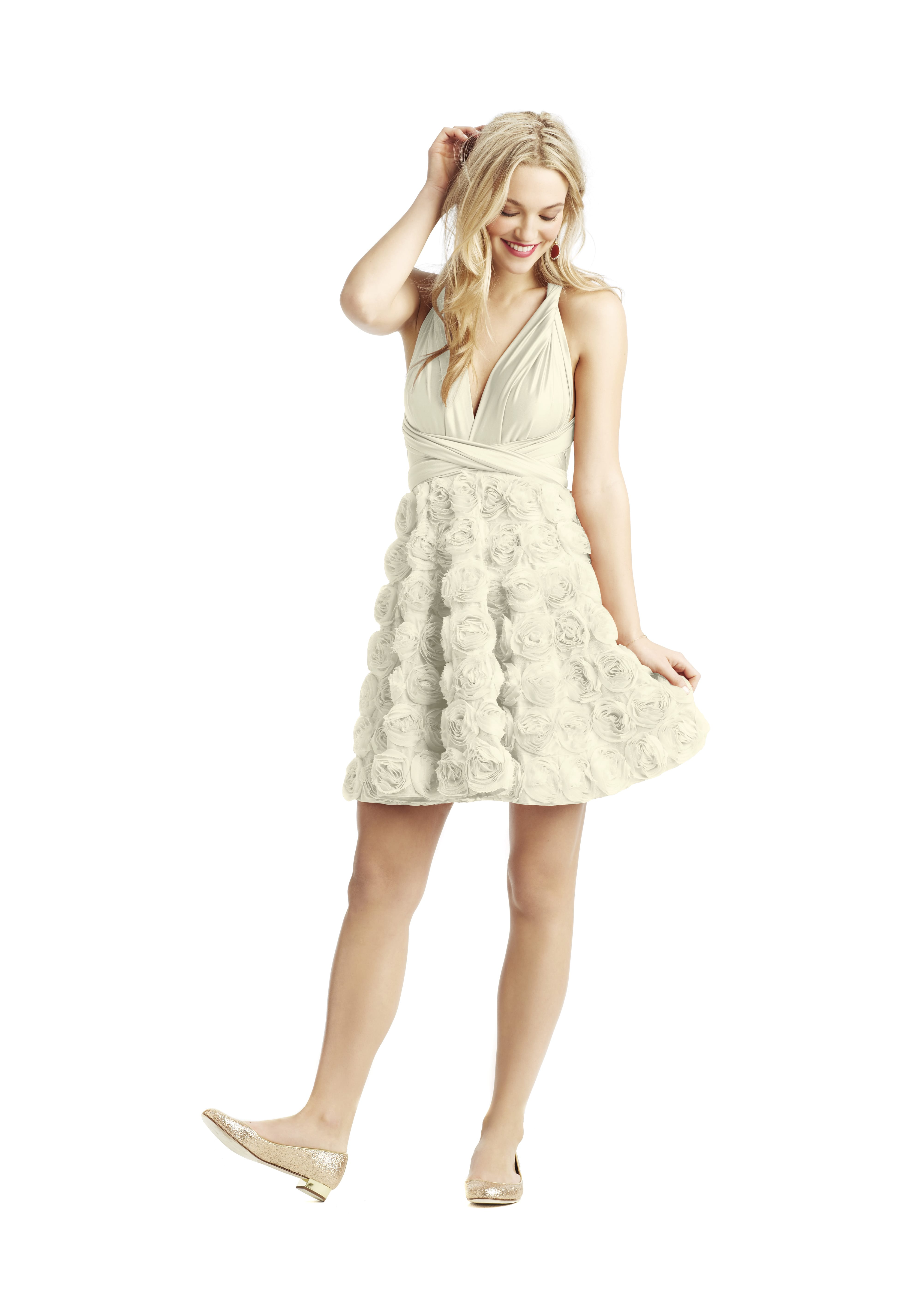 Short White Bridesmaid Dress with Flowered Skirt from Twobirds