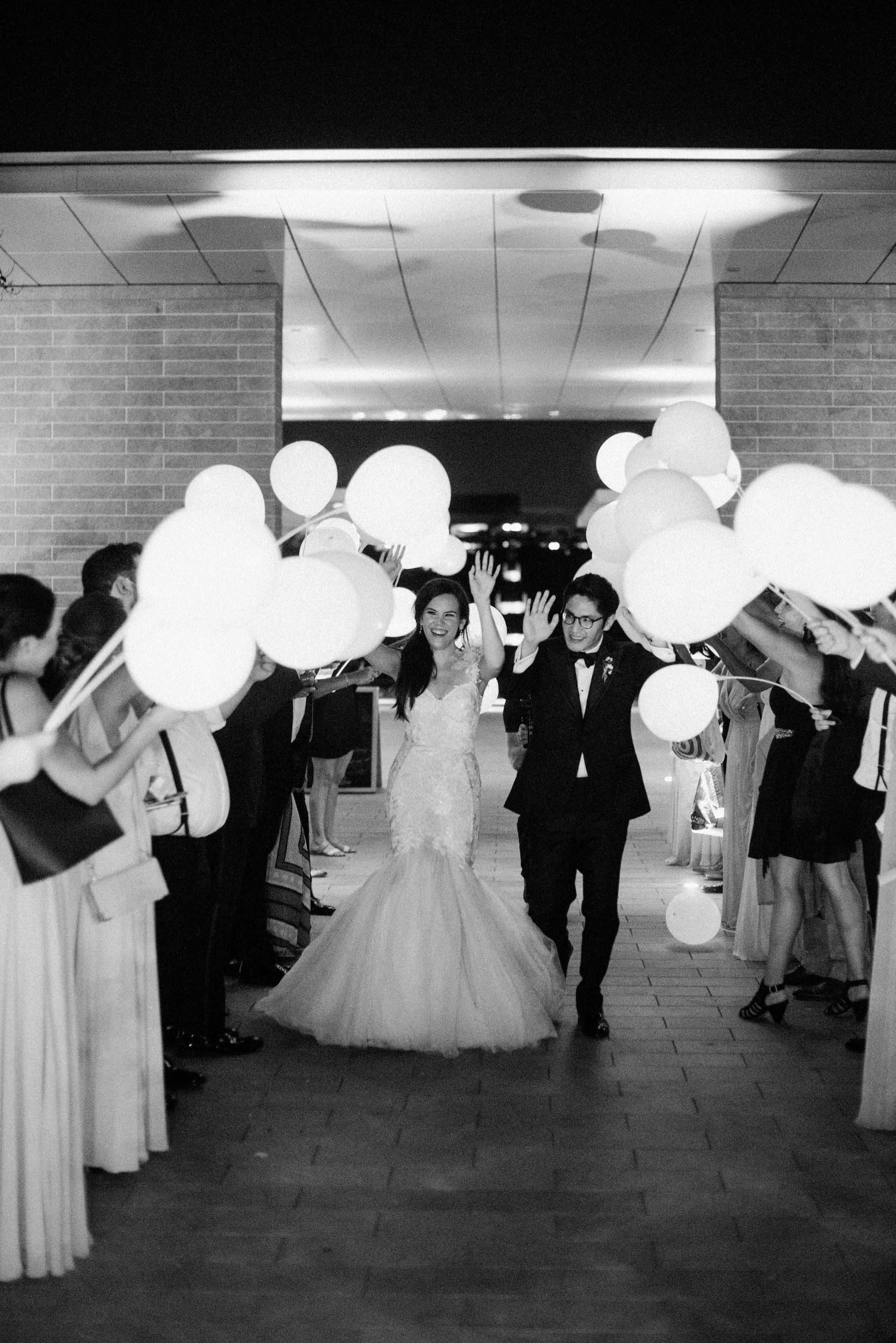 texas wedding black white exit