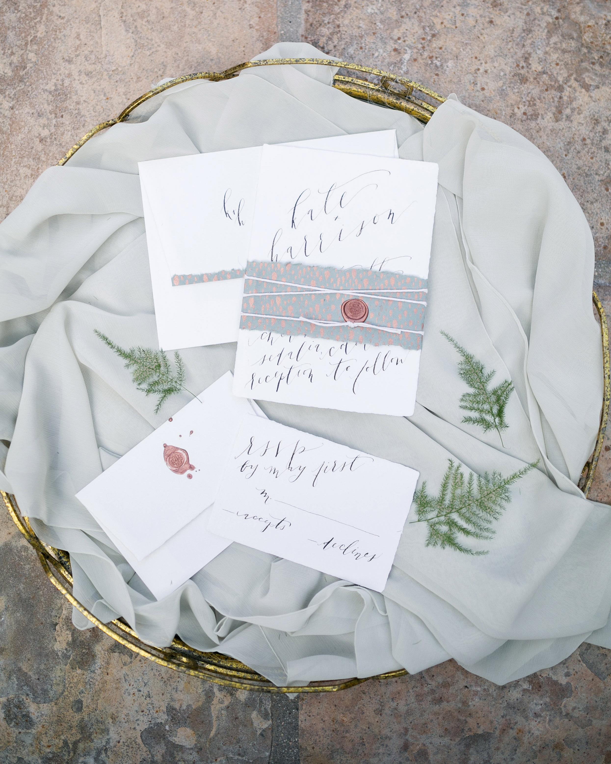 wax seal wedding invitations splatter wax seal