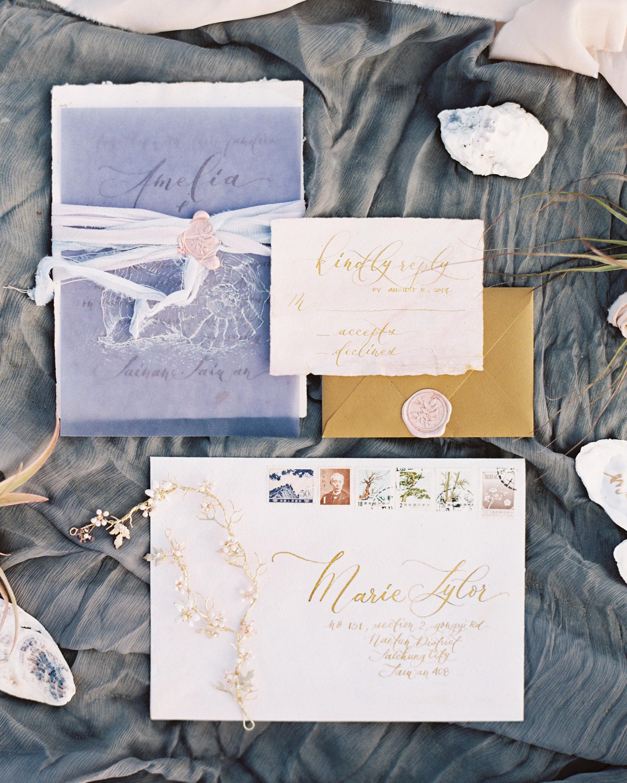 wax seal wedding invitations pink wax seal