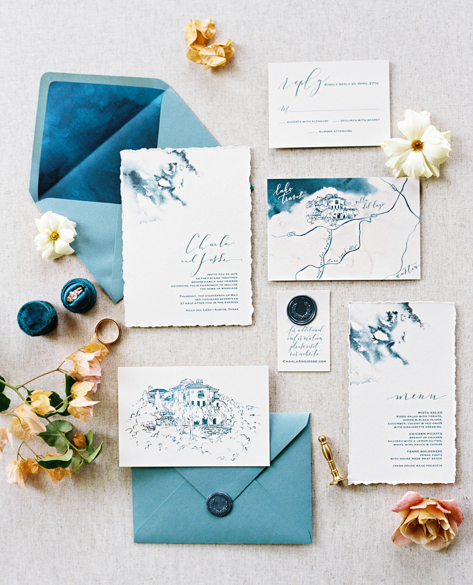 charla jesse wedding blue stationery
