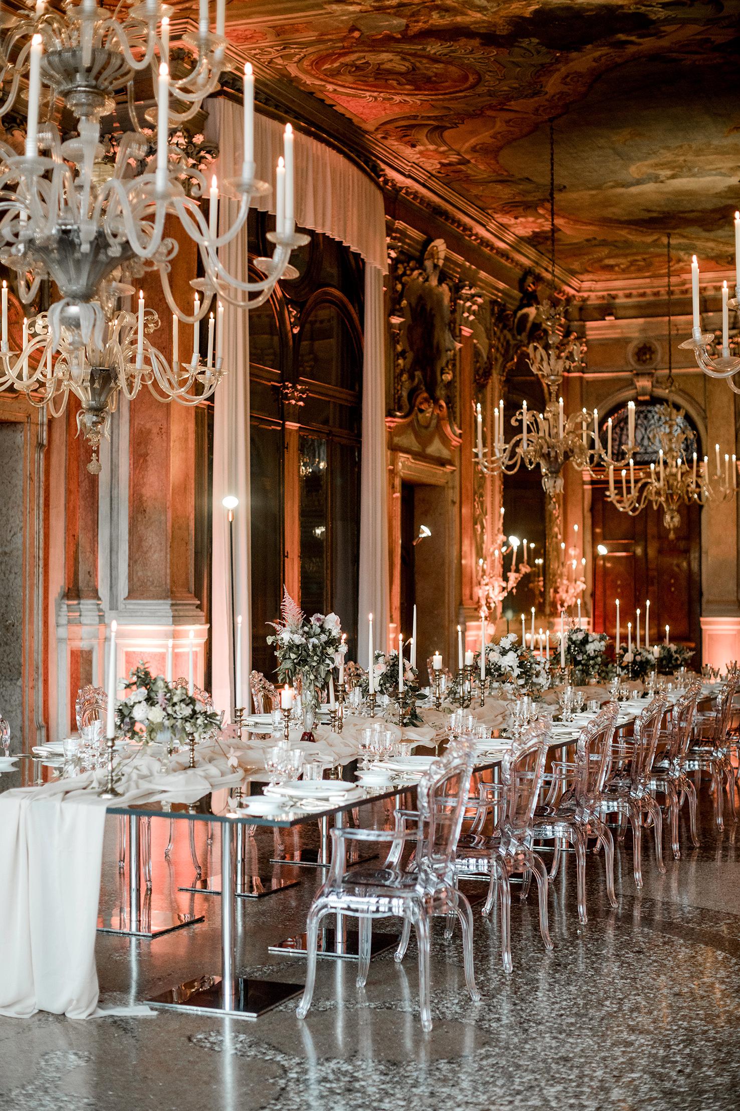 elle raymond venice wedding banquet tables chandeliers