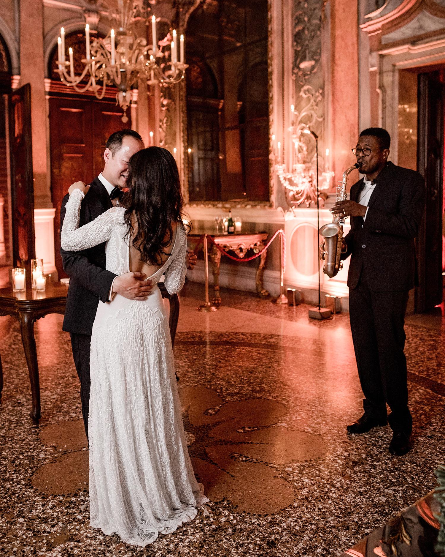 elle raymond venice wedding first dance saxophonist