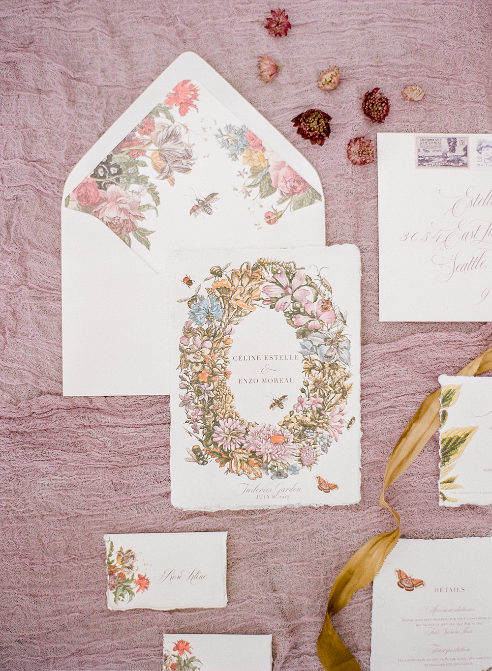 20 Pretty Envelope Liners That Dressed Up Wedding Invitation Suites