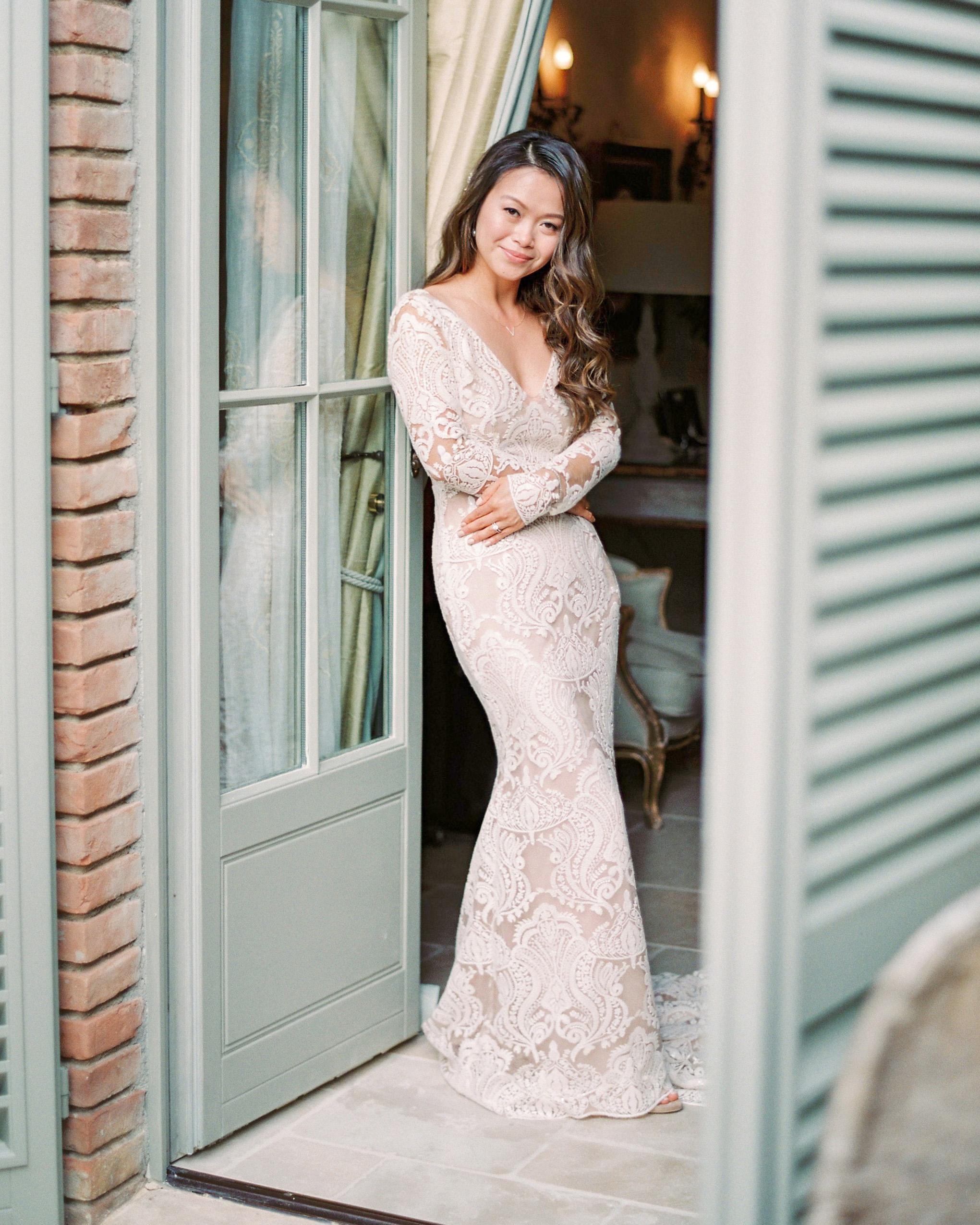 long sleeved wedding simple vneck dress
