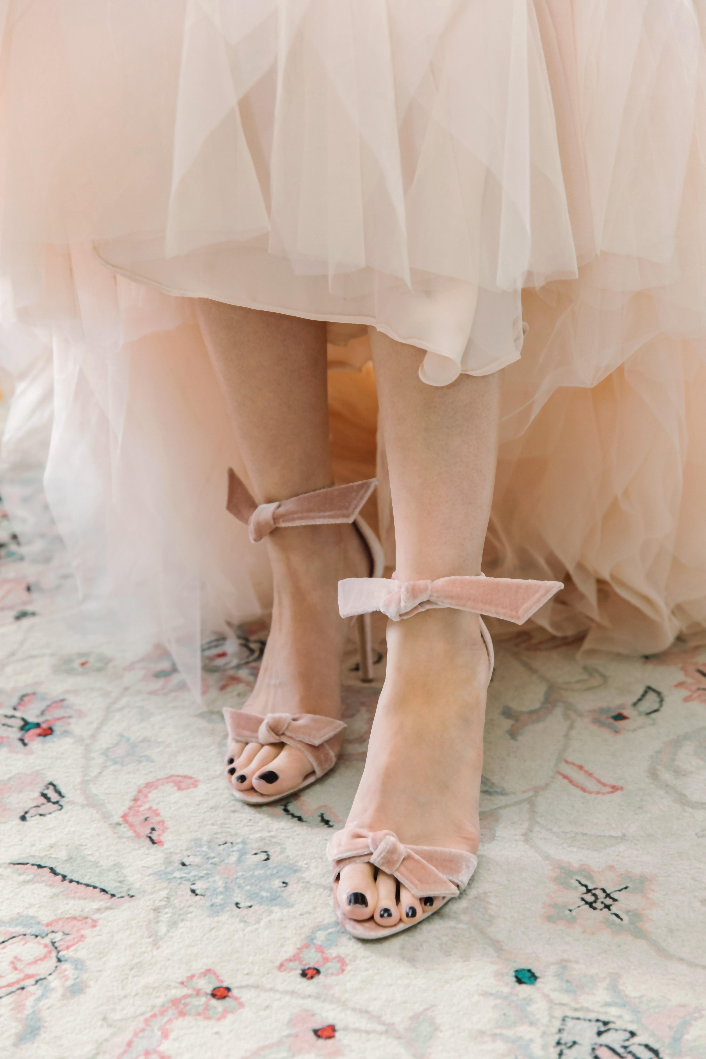 wedding shoes blush velvet bows