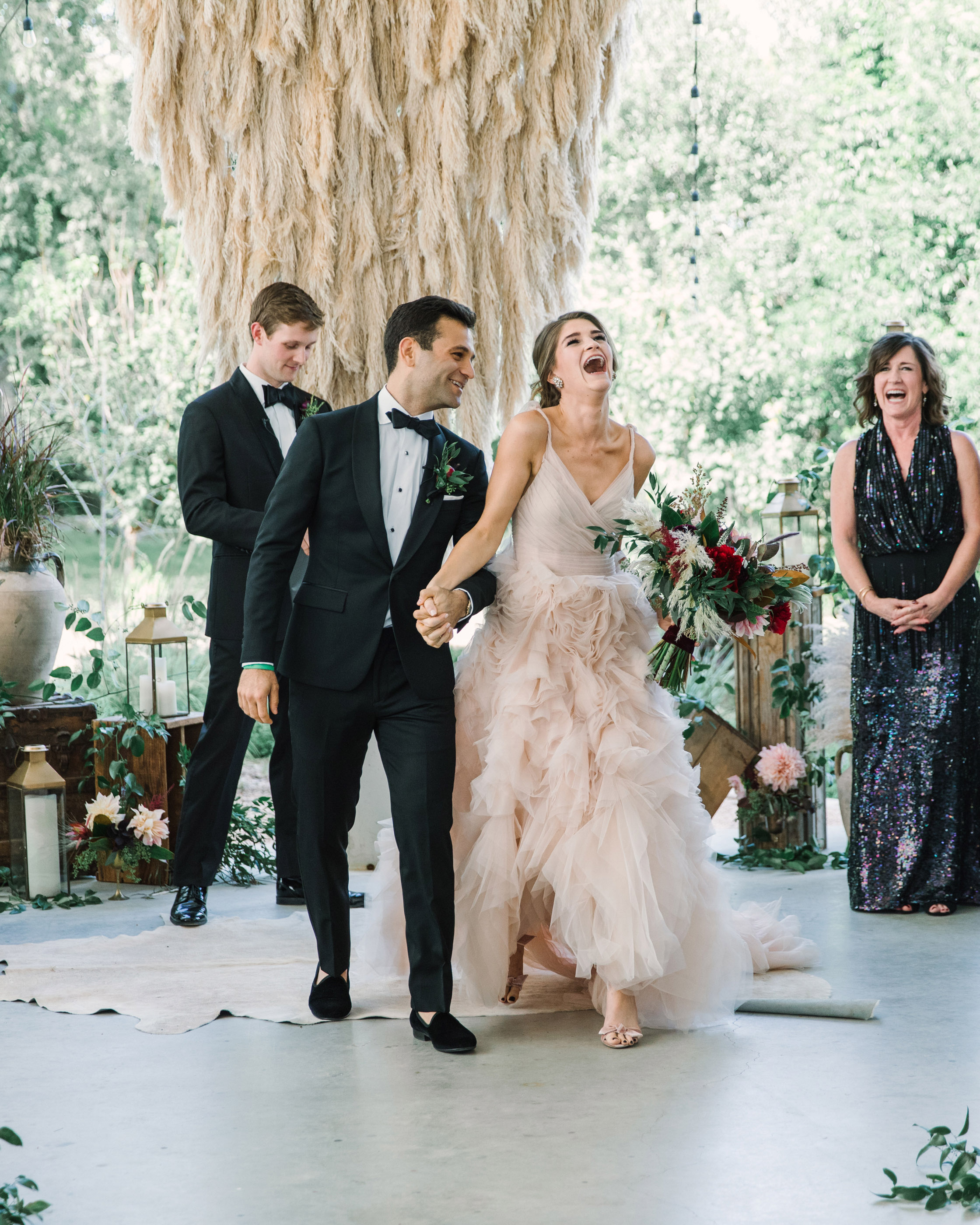 wedding ceremony bride laughter