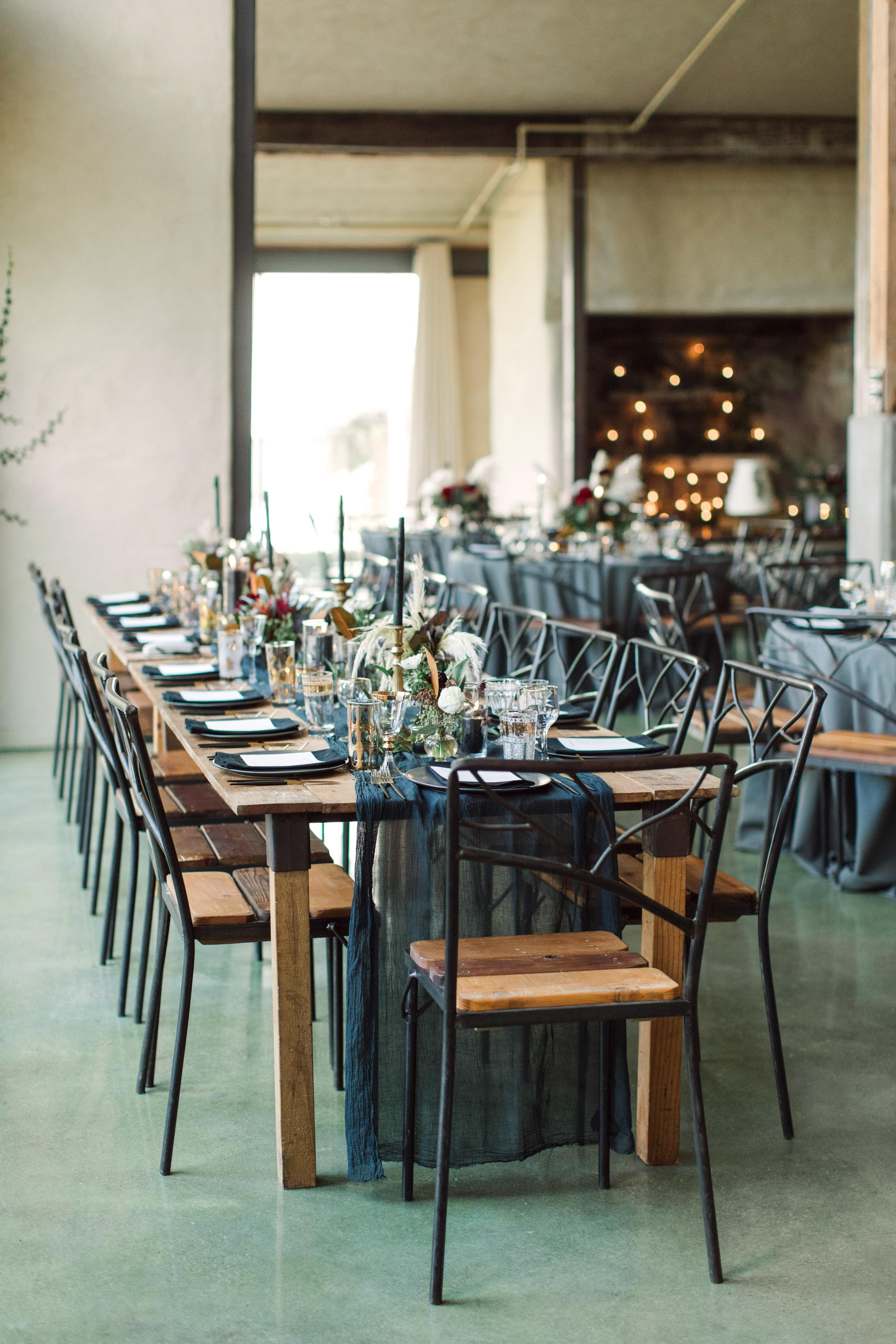 wedding reception table long black